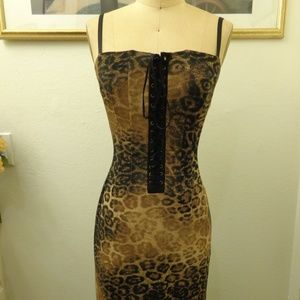 A.B.S Evening Leopard Print Midi Dress